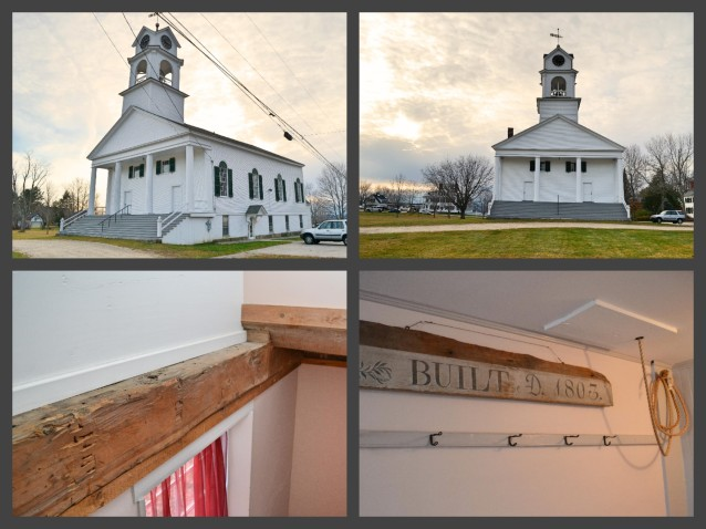 Our beautiful historic venue.  Some of the beams were left exposed in a recent restoration, and that rope to the far right of the bottom photo?  Well, that's the pull rope for the approximately 200 year old church bell that we had a little fun with.